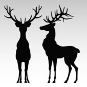 Silhouette of a deers — Stock Vector