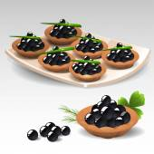 Canapes with black caviar — Stock Vector