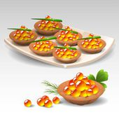 Canapes with red caviar — Stock Vector