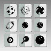 Icônes de sport noir — Vecteur