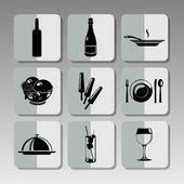 Black restaurant icons — Stock Vector
