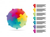 Flat rainbow spectrum colored puzzle presentation infographic template with explanatory text field. Vector graphic template. — Vector de stock