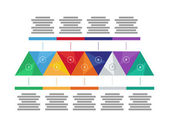 Colorful spectrum rainbow geometric triangular nine sided presentation infographic diagram chart vector graphic template with explanatory text field isolated on white background — Stockvektor