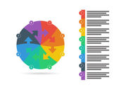 Flat rainbow spectrum colored puzzle presentation infographic template with explanatory text field. Vector graphic template. — Stock Vector