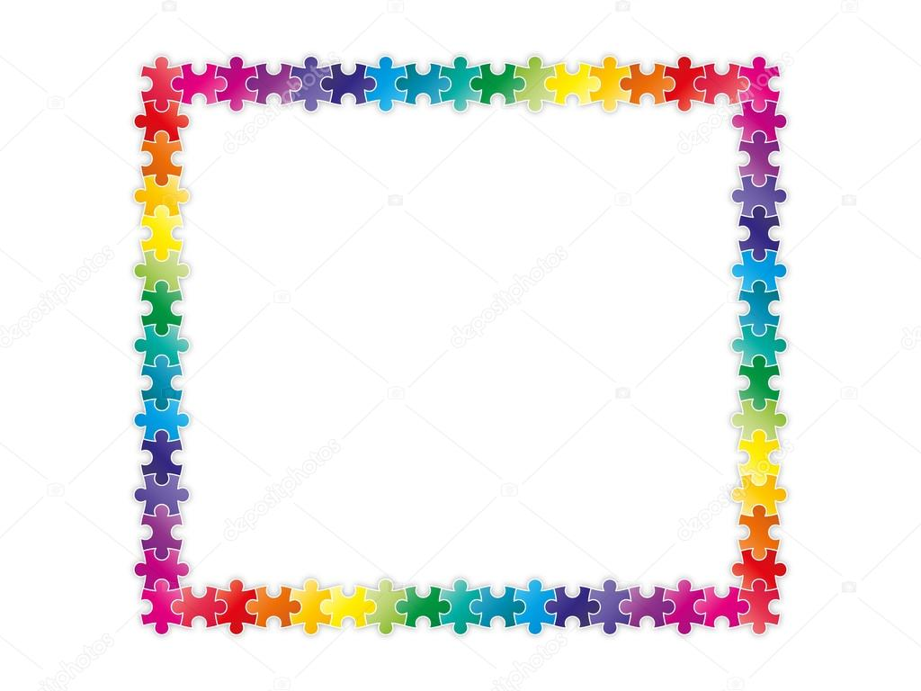 Jigsaw Glasses Frame : Multicolor jigsaw puzzle frame border Stock Vector ...