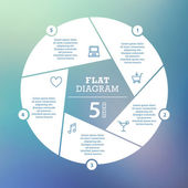 Flat shutter diagram on blurred background. Template for your business presentation with text areas and icons. Vector infographic graphic design. Collection. — Stock vektor