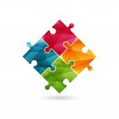 Colorful puzzle pieces forming a square in movement. Vector graphic illustration template isolated on white background. — Stock Vector