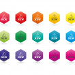 Set of colorful rainbow spectrum new badges signs vector graphic illustration template isolated on white background — Stock Vector #67295865