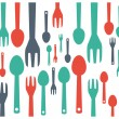 Colorful cutlery spoon and fork contemporary pattern. Vector illustration graphic template. — Stock Vector #67296279