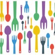 Colorful cutlery spoon and fork contemporary pattern. Vector illustration graphic template. — Stock Vector #67296289