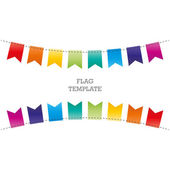 Colorful festive spectrum geometric flags. Flat design. Vector graphic template. — Stock Vector