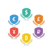 Euro Dollar Yen Yuan Bitcoin Ruble Pound Mainstream currencies symbols on grunge circle sign. Vector illustration graphic template isolated on white background. — Stock Vector