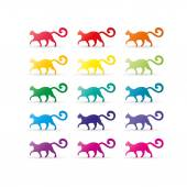 Colorful rainbow spectrum cat icons. Animal symbol. Vector graphic illustration template. Isolated on white background. — Stock Vector