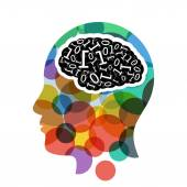 Head with computer brain concept presentation. — Stock Vector