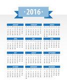 Colorful 2016 Calendar — Stock Vector