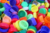 Plastic doppen achtergrondkleur — Stockfoto