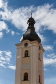 Tower church of St. Nicholas Dobrany with blue sky — Stock Photo