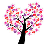 Ilustrated tree of love — Stock Photo