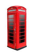 Classic British red phone booth in London UK, isolated on white — Stock Photo