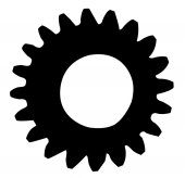 Cogwheel silhouette isolated on a white background — Foto de Stock