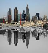City of London one of the leading centres of global finance.This view includes Tower  Gherkin,Willis  Building, Stock Exchange Tower and Lloyds of London and Canary  Wharf at the background. — Stock Photo