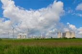 Nuclear power plant Dukovany in Czech Republic Europe, wind turbines — Stock Photo