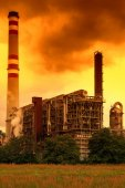Petrochemical industrial plant, Czech Republic in the sunset — Stock Photo