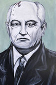 Graffiti portrait of Mikhail Gorbachev — Stockfoto