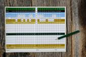 Golf Score Card Blank with Nobody — Stock Photo