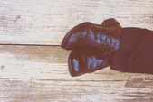 Feet. First-Person view  on rustic wood background. — Stock Photo
