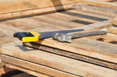 Building carpentry tools, work — Stock Photo