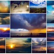 The history of the one window . All photos are made from the same window in different seasons and time of day. Sunrise, sunset, winter, spring, summer, autumn and other wonders of nature in my window — Stock Photo #58964869