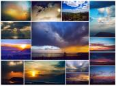 The history of the one window . All photos are made from the same window in different seasons and time of day. Sunrise, sunset, winter, spring, summer, autumn and other wonders of nature in my window — Stock Photo