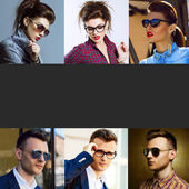 The concept  fashion beauty female and male. Collage of young women and men in glasses wearing in trendy clothes, with make up and accessories. Close up. Studio shot and street shot. Copy space — Stock Photo