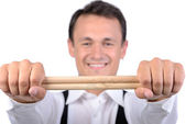 Drums player — Stock Photo