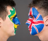 Face art. Flags. — Stock Photo