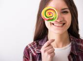 Woman with sweets. — Stock Photo