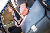 Businesswoman in the car — Stock Photo
