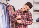 Man in dressing room — Stock Photo