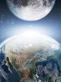 Earth and moon — Stock Photo