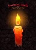 Ilustración de vela ardiente. — Vector de stock