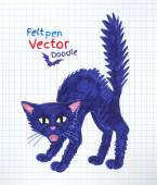 Pen drawing of black cat — Stock Vector