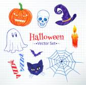 Halloween doodles drawn on checkered notebook paper — Stock Vector