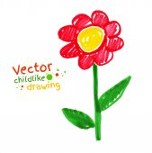 Childlike drawing of flower — Stock Vector