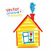 Childlike drawing of house — Stock Vector