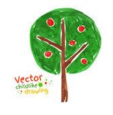 Childlike drawing of apple tree — Stock Vector
