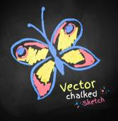 Chalked childlike drawing of butterfly — Stock Vector