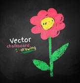 Chalked childlike drawing of flower — Stock Vector
