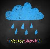 Chalked childlike drawing of rainy cloud — Stock Vector