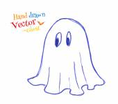 Childlike drawing of cute ghost — Vettoriale Stock